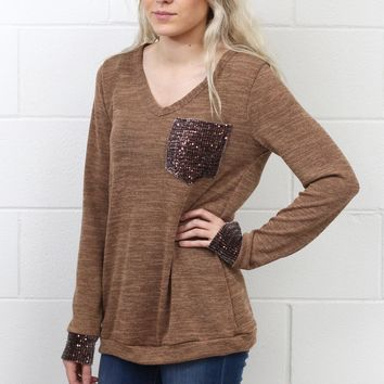 Time to Shine Sequin Pocket + Cuff Long Sleeve Knit {Camel}