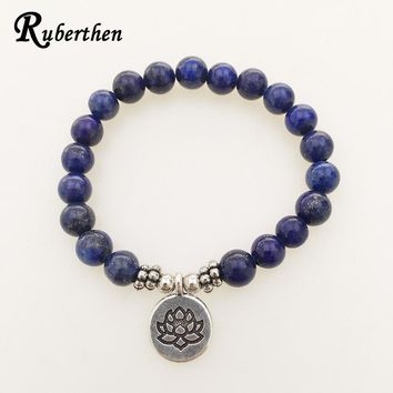 Ruberthen High Quality Lapis Lazuli Bracelet Natural Stone Bead Mens Bracelet Throat Chakra Spiritual Gift for Him Free Shipping