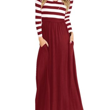Hot Fashion Spring Long Sleeve Skirt Women Stripped Printed Girl Dress Beach Party Maxi Patchwork High Waist Stitching Dress Pluse Size