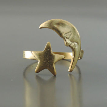 Vintage Ring - Star  Ring -  Moon Ring - Brass Jewelry - Adjustable Ring - Wrap Ring - handmade jewelry