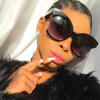 Oversized Xtra Large Cutoff Semi rimless Round Cat Eye Style Women Sunglasses