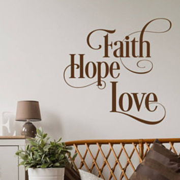 Love Never Gives Up 1 Corinthians 13 7 Wall Decal Christian Decor- Scripture Wall Decal Bedroom- Bible Verse Vinyl Wall Decal Boho Decor #86