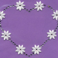 HEART & DAISIES CRYSTALs RHINESTONES Iron or Sew On patch by Cedar Creek patch Shop on Etsy