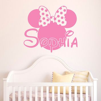 Girl Name Wall Decal- Minnie Mouse Wall Decals Personalized Name Stickers  Baby Kids Girls Room