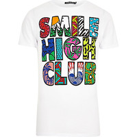 River Island MensWhite Friend or Faux smile high club t-shirt