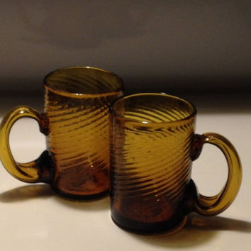 Antique Blown Amber Glass Mugs Stiegel Style Optic Swirl Applied Handles Rough Pontil Late 18th Early 19th Century