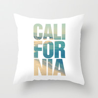 California Vintage Beach Summer Typography Throw Pillow by RexLambo