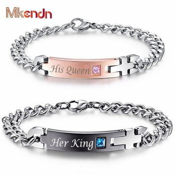 """MKENDN Unique Gift for Lover """"His Queen""""""""Her King """" Couple Bracelets Stainless Steel Bracelets For Women Men Jewelry"""
