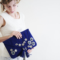 clutch blue clutch metal applique clutch blue evening purse envelope clutch leather tassel clutch formal faux suede ready to ship TRAVELER