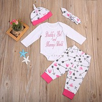 Newborn Baby Girl Clothes 4pcs Infant Baby Girls Romper+Arrows+Pants +Hat Outfits Toddle Clothing Set