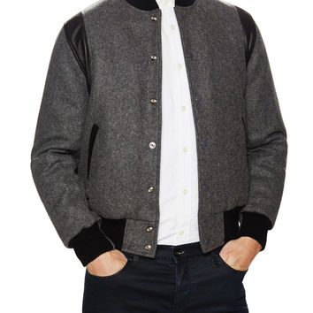 Slater and Sons by Golden Bear Men's Stand Varsity Jacket - Dark Grey