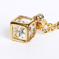Cube necklace,crystal inside a cube pendent necklace, gold cube with crystal inside necklace, bridal, bride's maid
