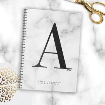 Personalised Monogram Marble Notebook