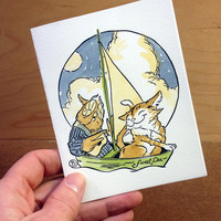 Amorous Animals Hand Painted Letterpress Card | Owl & Pussy Cat | Comes with envelope!