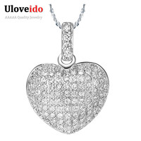 40% off Love Heart Silver Crystal Necklaces & Pendants for Woman Girls 2016 Fashion White Rhinestone Jewelry Chain Collares N378