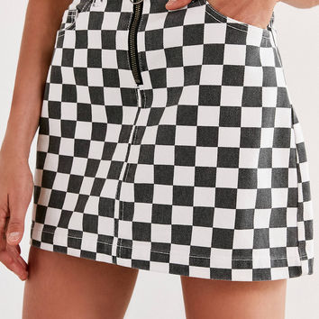 BDG Checkered Denim Zip Mini Skirt | Urban Outfitters
