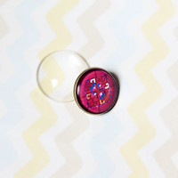 Brooch- Vintage & Tribal Style Deep Pink Tribal Graphic under Glass Domed Glass Bubble #1
