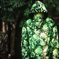 Supreme Autumn And Winter New Fashion More Skull Heads Print Women Men Night Lights Hooded Long Sleeve Top Sweater