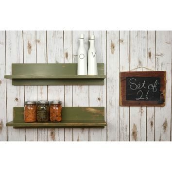 "Hawkins No. 2 - Solid Wood, 24"" Floating Shelf Set"