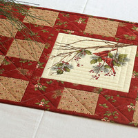 Cardinal Table Runner, Quilted Red Table Runner, Holly and Pines, Christmas Table Quilt, Winter Table Runner, Quiltsy Handmade
