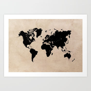 world map 94 black #worldmap #map #world Art Print by jbjart