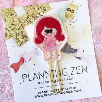 Ballerina Girl with Red Hair Felt Kawaii Planner Clip