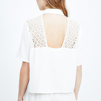 Cooperative Lace Cut-Out Shirt in Ivory - Urban Outfitters