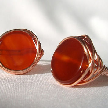 Red Brown Carnelian Wire Wrapped Copper Ring - Fall Color Jewelry