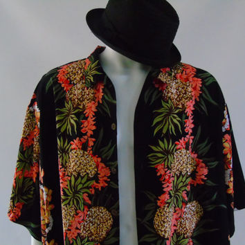 Hilo Hattie Black Hawaiian Panel Shirt ,Pineapple Floral Plumeria Lei , Loud Aloha Carefree Friday Shirt Rayon 4XL