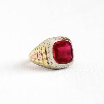 Antique Art Deco 10k White Yellow & Rose Gold Created Ruby Ring - Size 9 1/4 Vintage 1930s Pink Red July Men's Fine Flower Filigree Jewelry