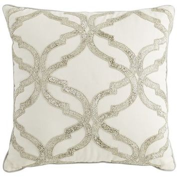 Silver Beaded Geometric Pillow - Ivory