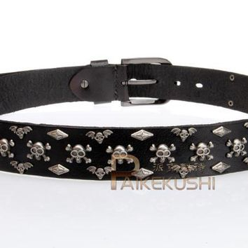 Free Shipping,2017 new style fashion,100% Real cow leather buckle belt.brand genuine leather rivet belts,street punk skull