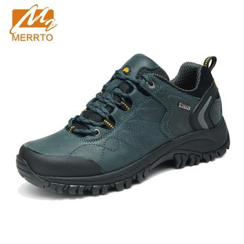 MERRTO 2018 Waterproof Hiking Shoes Men Sports Sneakers Men Women Genuine Leather Hiking Boots Mountain Trekking Shoes Sneakers