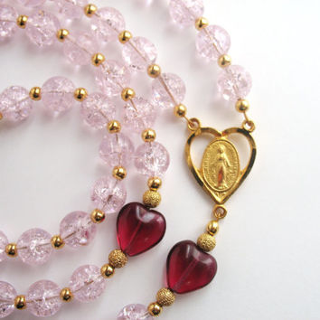 Red Heart Rosary, Pink Glass Beads, Catholic Rosary, Miraculous Medal, St Valentine Rosary, Red Heart Beads, Catholic Prayer Beads