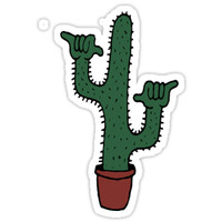 'Shaka Cactus' Sticker by baileymincer