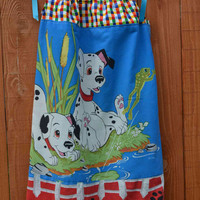 Girls Dalmatians Pillowcase Dress upcycled Disney dog puppy turquoise blue multicolor ruffles cartoon red size 8, 10, 12, 14 Summer fashion