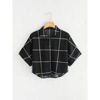 Cuffed Sleeve Grid Shirt Black