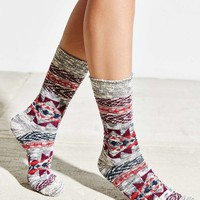 Red Geometric Boot Sock - Urban Outfitters
