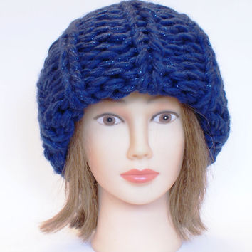 Russian style handknitted navy hat Victoria Beckham super chunky oversized hats women knitted irish slouch