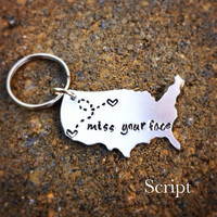 Best Friend Gift - Couples Long Distance Relationship Gift USA Keychain or state Map Keychain - With Personalized Message