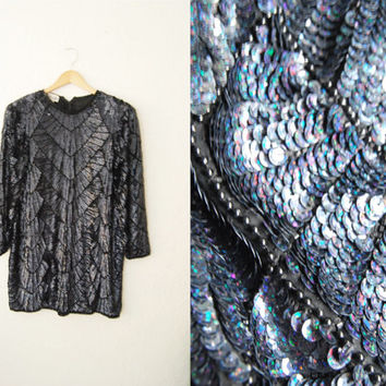 Vintage Sequin Trophy Holiday Party Dress Mini / Glitter / Shiny / Black Iridescent / Large