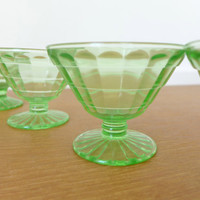 Set of four Anchor Hocking block optic uranium glass dessert cups in excellent condition
