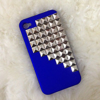 Silver pyramid studded blue iPhone 4/4S case:)