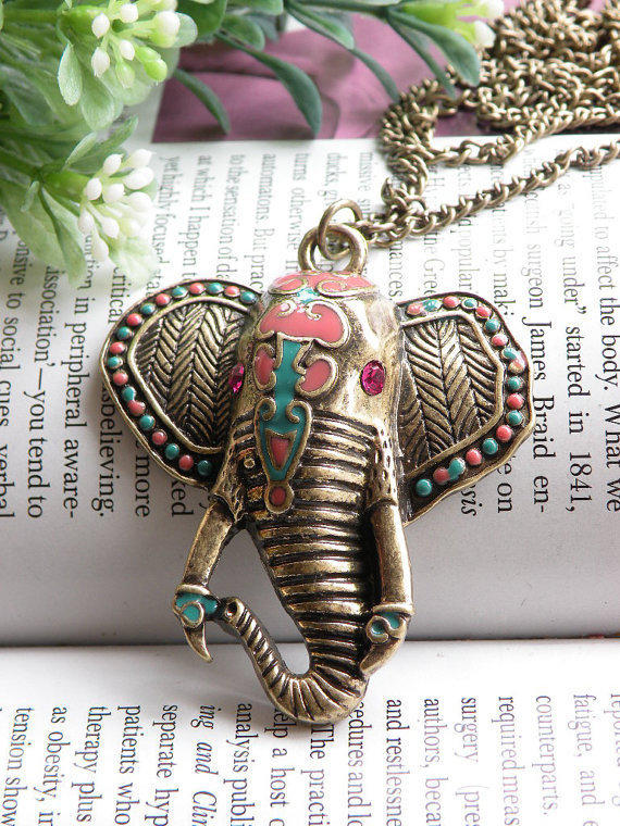 Pretty retro copper colorful glaze indian elephant head with purple crystals eyes necklace pendant jewelry vintage style