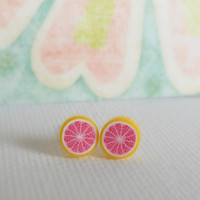 Little Grapefruit Earrings by theblackstarboutique on Etsy