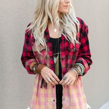 (PRE-ORDER) Bleached Plaid Flannel With Lace