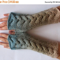 SALE Fingerless Gloves Gray Blue Beige Brown wrist warmers
