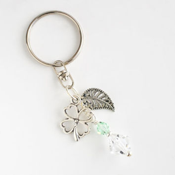 Charm keychain, teachers gift, Swarovski keyring, purse charm, charm zipper pull, crystal key chain, purse ornament, clover leaf keychain