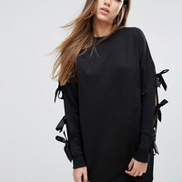 Missguided Bow Sleeve Sweat Dress at asos.com