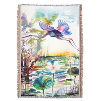 Blue Heron Over Lotus Pond Art by Ginette Throw